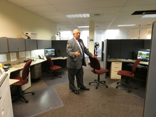 Marion County Sheriff Tim Bailey stands in the patrol room at the new sheriff's office at 100 Executive Drive. Construction is ongoing on interview rooms, individual offices, a briefing room and more.