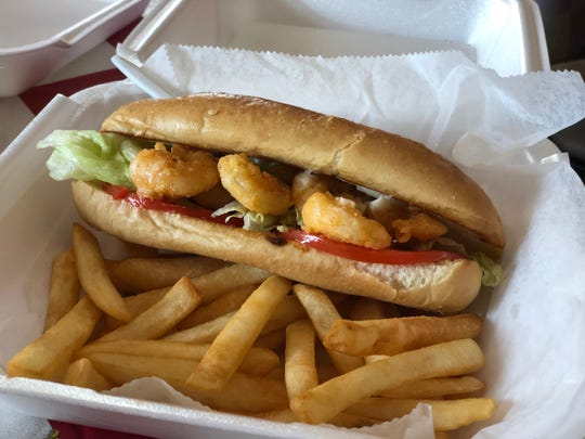 The Fried Shrimp Po-Boy at Down South Wings & Grill.