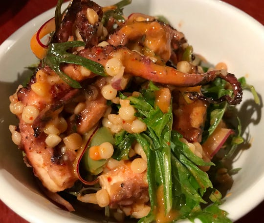 Octopus can be found on many menus in 2019. In summer at the Diplomat, it was tossed with mizuna greens, fregola pasta, green olives and Aleppo-pepper vinaigrette.