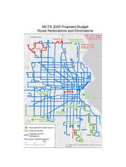 A map shows which bus routes would be restored and which eliminated under the 2020 recommended transit budget.