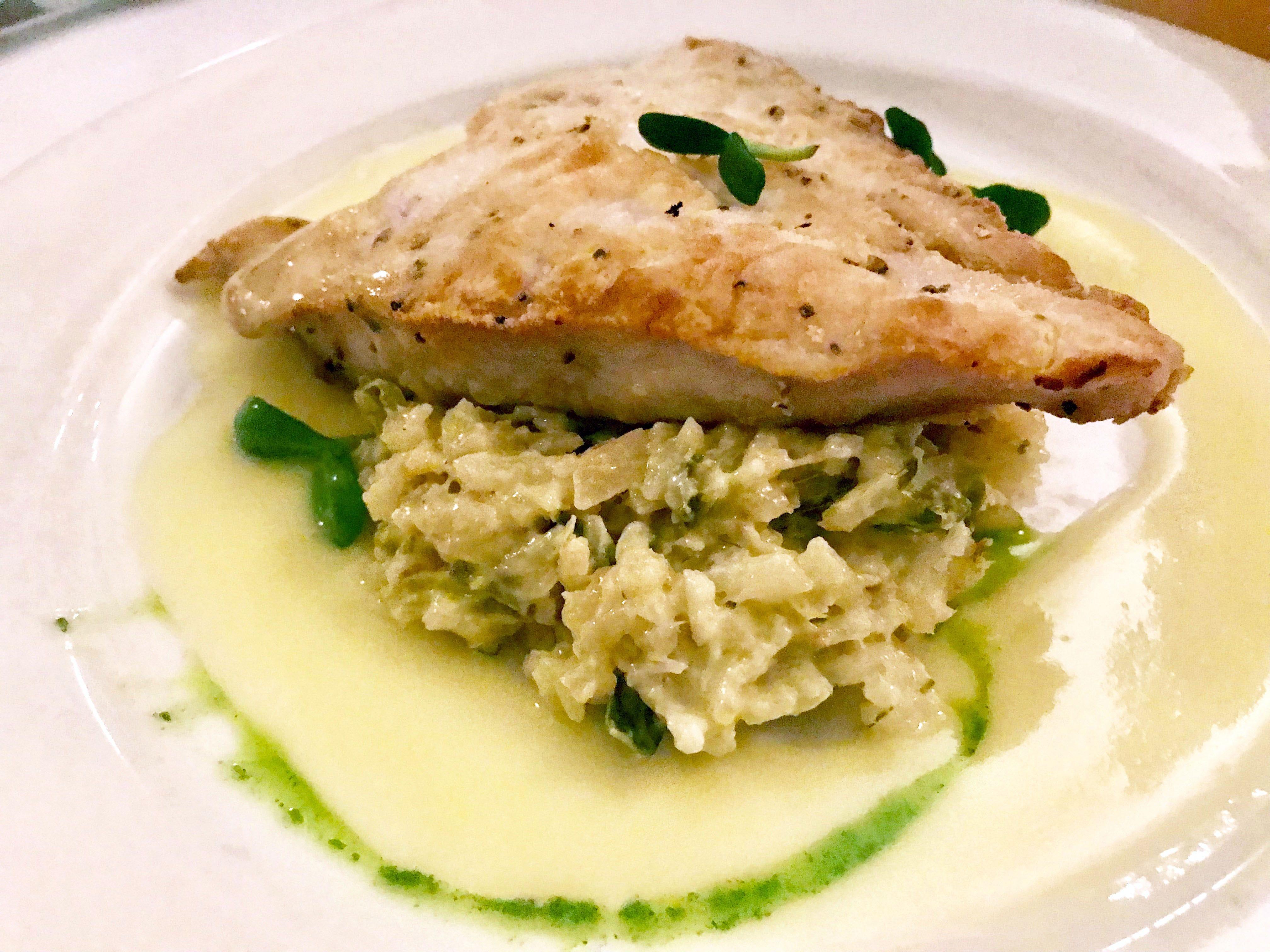 Monchong, a Hawaiian fish, with leek risotto was a Friday special at Sebastian's in Caledonia.
