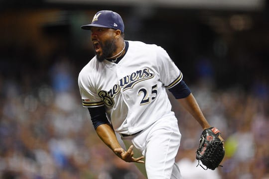 Brewers reliever Jay Jackson reacts after getting out of a slight jam against the Padres in the seventh inning Wednesday night.