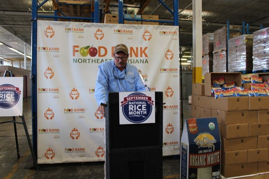 John Owen, chairman of the Louisiana Rice Promotion Board, speaks at a Thursday event at the Food Bank of Northeast Louisiana. The Food Bank accepted a rice donation from KenChaux rice in honor of Hunger Action Month and National Rice Month.