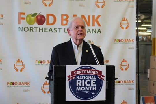 Rep. Bubba Chaney read a proclamation for National Rice Month from Governor John Bel Edwards at a Food Bank event Thursday.