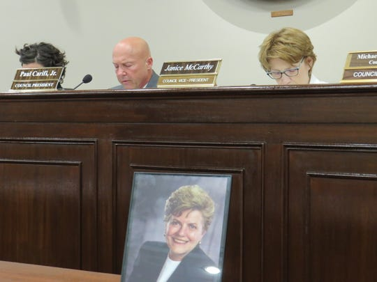 A framed photo of former mayor Mimi Letts, sits on the front table at the regular meeting of the Parsippany-Troy Hills Township Council on Tuesday, Sept. 17.  She died Sunday. Her funeral was Friday, Sept. 19, 2019 at St. Christopher Church in Parsippany.
