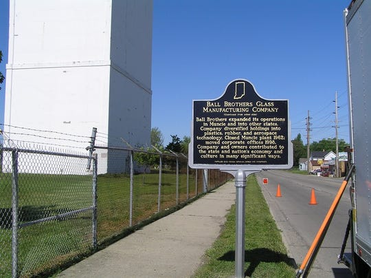 The Ball Brothers Glass Manufacturing Company historical marker when it was dedicated in 2008. The sign has since gone missing and officials need the public's help in finding it.