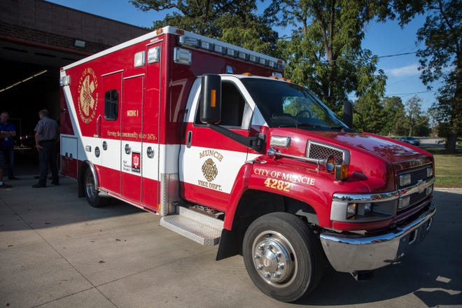 Ambulances are shown off to members of the public at an open house Sept. 17 at the fire station along East Memorial Drive. Muncie purchased four ambulances in May for  $340,000 to start a city based EMS service.