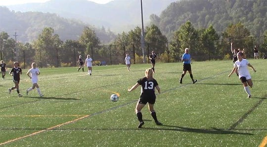 Fairview's Lady Jackets soccer team (white) in action at the Smokey Mountain Cup in Gatlinburg on Sept. 14, 2019.