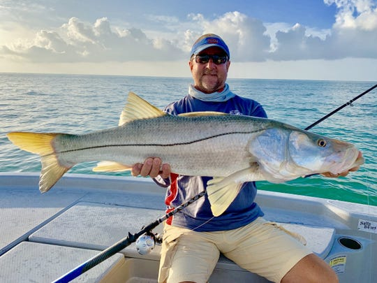 Rich Gordon with a nice snook caught while fishing with Capt. Christian Sommer on his birthday.