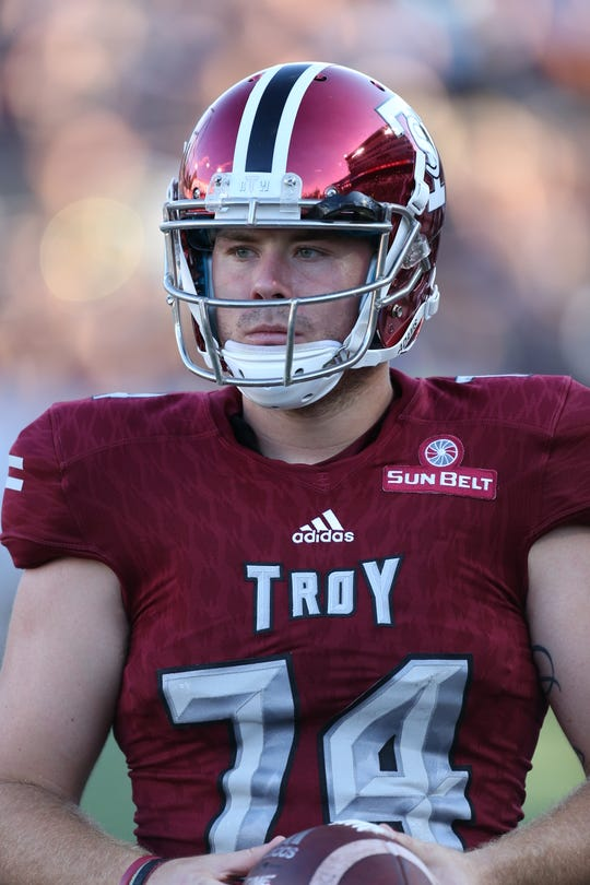 Cameron Kaye, a redshirt junior, has been the starting long snapper at Troy University for three years.
