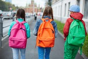 Students walk to school.