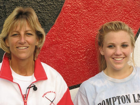 Pompton Lakes field hockey coach Eileen Allan with daughter, Danielle, in 2007.