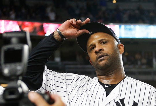 Sep 18, 2019; Bronx, NY, USA; New York Yankees starting pitcher CC Sabathia (52) reacts after being taken out of the game against the Los Angeles Angels during the third inning at Yankee Stadium. Mandatory Credit: Andy Marlin-USA TODAY Sports
