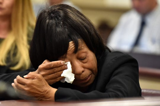 """Richard """"Richie"""" Roberts, a former attorney was sentenced to five years probation, community service and ordered to pay restitution to his former clients on perjury and theft charges in Morris County Superior Court on September 19, 2019. Ann Aarons, a former client and victim of Roberts, wipes away tears while describing the pain she suffered from her son's death further compounded by Robert's stealing the $100,000 insurance money from her son's death."""