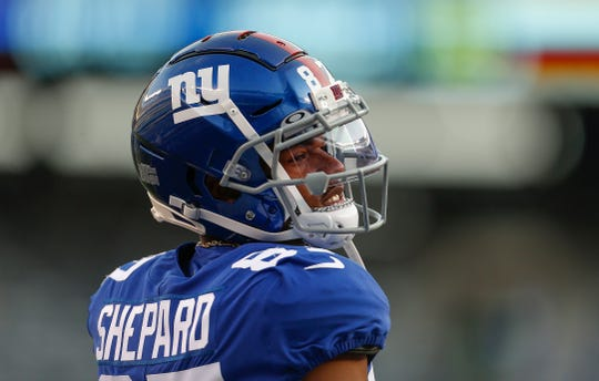 New York Giants wide receiver Sterling Shepard (87) warms up before an NFL football game against the Chicago Bears, Friday, Aug. 16, 2019, in East Rutherford, N.J.