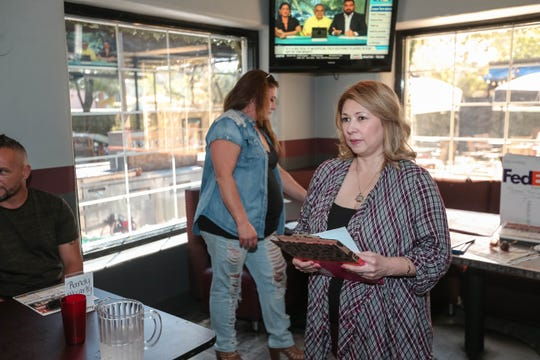 Teresa Tapia announces a local fight card at The Game Sports Bar and Grill in Las Cruces on Thursday, Sept 19, 2019.