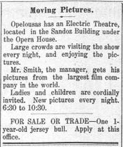 Electric Theatre at the Sandoz Opera House announcement in the St. Landry Clarion on October 26, 1907.