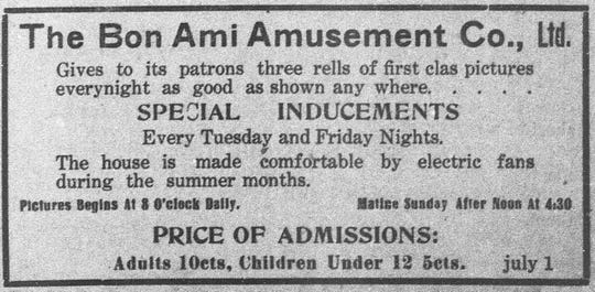 Bon Ami Amusement Advertisement in the St. Landry Clarion in November of 1911.