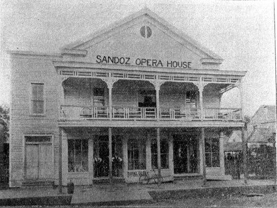 Sandoz Opera House on Main Street was one of the first businesses to show moving pictures in Opelousas in 1906.