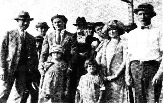 "Some of the local cast members who appeared in the movie ""Youth Romance"" filmed in Opelousas in April of 1924 and shown at the Princess Theatre in May of that year. Pictured in  the front are Cleo Stelly and Bessie Danel. Others include Louis Stelly and son Louis E.; Harry Bennett; Felix ""Blue"" Richard; the cameraman; Louis Mallet; Leslie Harris (in a bathing suit); Irene Dupre; an unidentified man in the rear; and Nathan L. Haas, who was Opelousas Postmaster at that time. Directly behind the camera is Frankie Dietlein."
