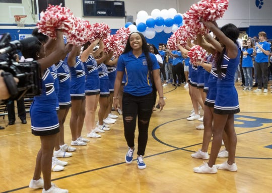 Jaila Roberts returns to Washington High School for a taping of an ESPN special on Thursday, Sept. 19, 2019. ESPN recognized the Wildcat graduate after one of her basketball plays made the network's top 10.