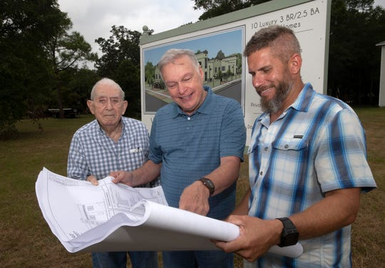 Developers Norman Ricks and David Richbourg meet with contractor Luke Zechiel to review plans for a new townhouse development in Old East Hill on Thursday.