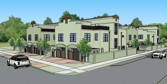 Village on Wright Street, pictured above in an architect's rendering, will feature 10 high-end town homes.