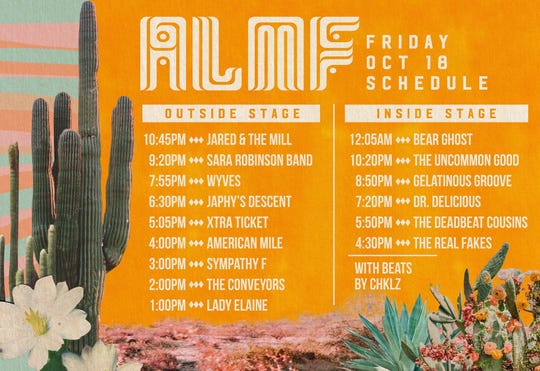 Apache Lake Music Festival 2019 Friday schedule