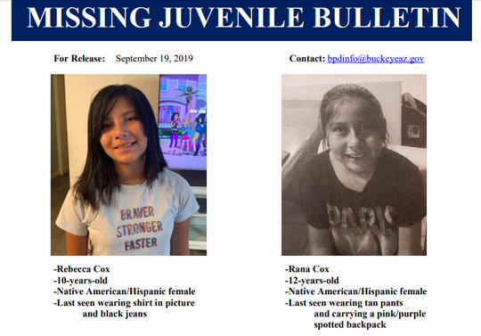 Rana Cox, 12, and her sister, Rebecca Cox, 10, went missing from a home near Verrado Heritage Elementary School between 12 a.m. and 6:40 a.m. Thursday, according to the Buckeye Police Department.
