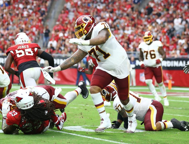 How would Washington Redskins offensive tackle Trent Williams (71) look in an Arizona Cardinals' uniform?
