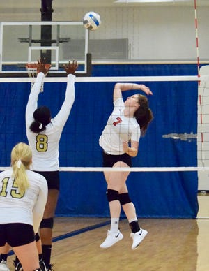 Port Huron junior goes for a kill during a volleyball match earlier this fall.