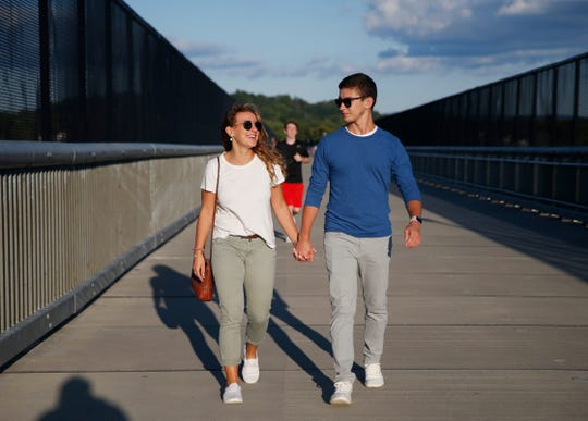 Melissa LaBonte of Salt Point walks with her boyfriend, Brian Dorsey of Suffern on the Walkway Over The Hudson on September 18, 2019.