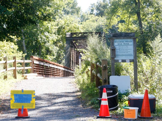 A portion of the Wallkill Valley Rail Trail is closed near Springtown Road in the Town of New Paltz during the filming of the sequel to A Quiet Place on September 19, 2019.