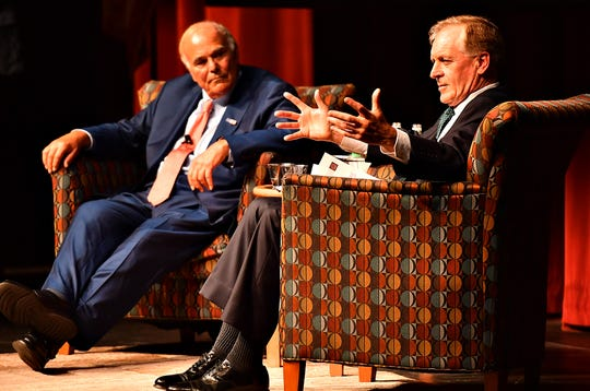 Former Pennsylvania governors Ed Rendell (D), left, and Mark Schweiker (R) discuss immigration reform during the inaugural Democracy Challenge debate at York College of Pennsylvania's Waldner Performing Arts Center in Spring Garden Township, Wednesday, Sept. 18, 2019. Dawn J. Sagert photo