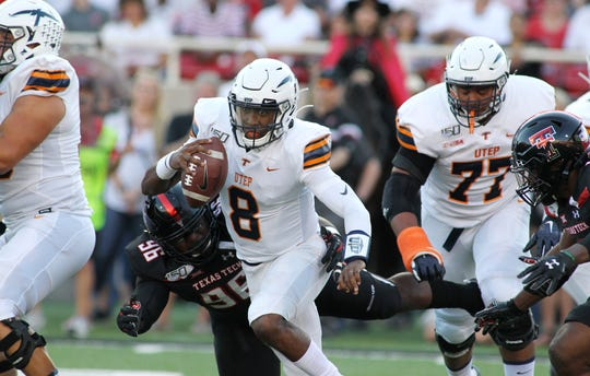 UTEP quarterback Brandon Jones (8) rushes against Texas Tech last week.