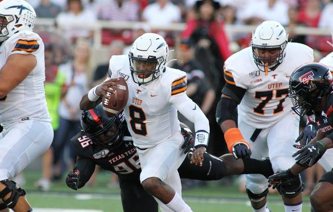 UTEP quarterback Brandon Jones (8) rushes against Texas Tech last week.