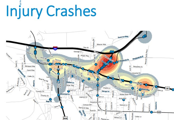 A map shows the areas in Fernley with the most accidents.