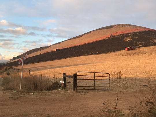 A 20-acre vegetation fire broke out off Old Stage Road north of Salinas Wednesday afternoon. Sept. 18, 2019.