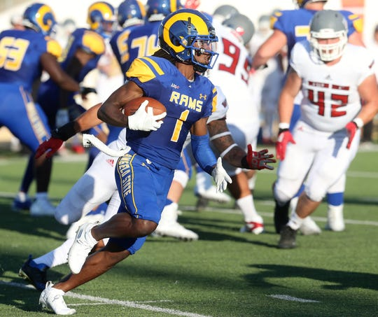 Angelo State University's Alize Thomas returns the ball against Western Oregon at LeGrand Stadium at 1st Community Credit Union Field Saturday, Sept. 5, 2019.