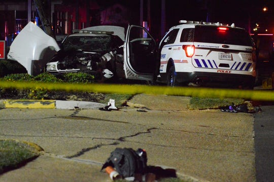 Two Shreveport police officers crashed at the intersection of Highland and Kings when responding to a deadly shooting on Egan Street on Wednesday, Sept. 18, 2019.