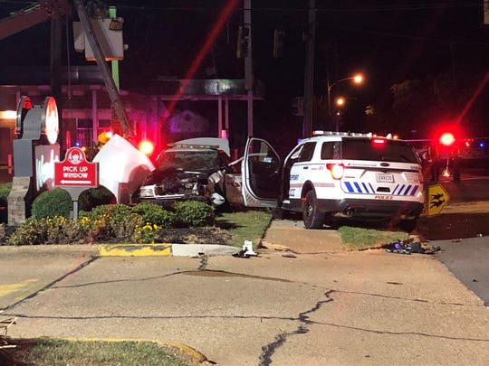 Two Shreveport police officers collided at Highland and Kings when responding to a shooting on Egan Street on Wednesday, Sept. 18, 2019.