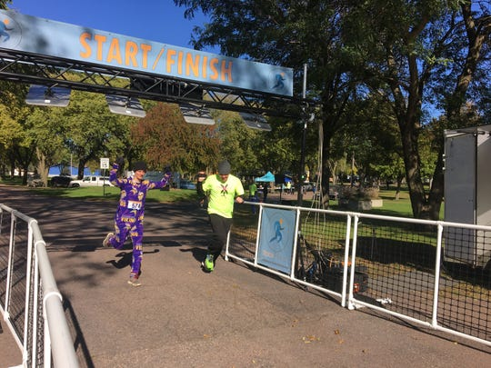 Runners complete The Race to stop Human Trafficking in Dell Rapids in 2018.