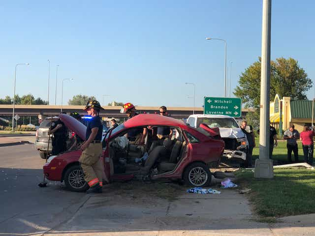 One extricated, transported to hospital in north Sioux Falls