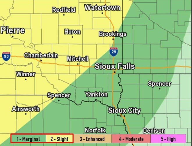 All of southeast South Dakota has a chance of severe weather the night of Friday, Sept. 20, 2019.