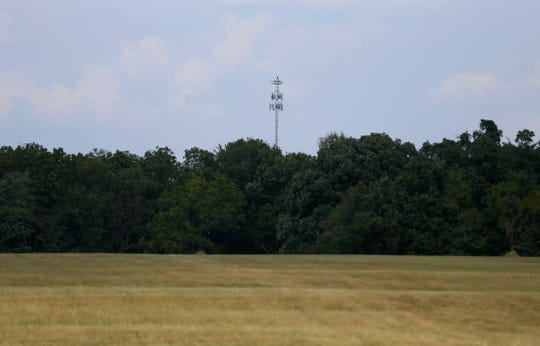 A 250-foot cell tower is seen less than a mile away from the site of another proposed cell tower on Thursday, Sept. 19, 2019.
