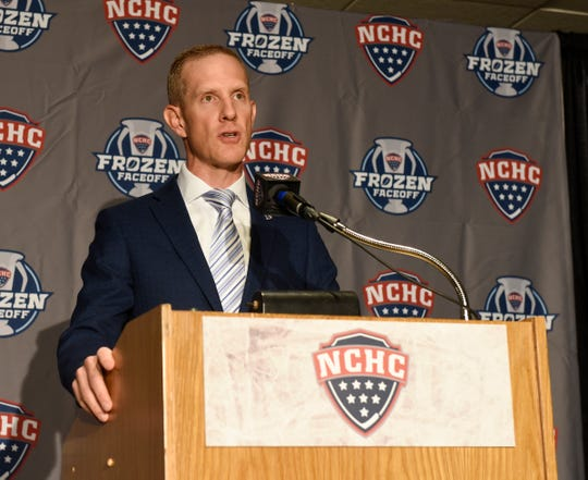 NCHC Commissioner Josh Fenton kicks off NCHC Media Day with his state of the conference address Thursday, Sept. 19, 2019, at Xcel Energy Center.