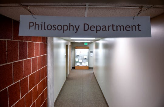 A sign marks philosophy department offices on the third floor of Centennial Hall Thursday, Sept. 19, 2019, at St. Cloud State University.