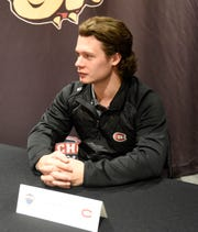 St. Cloud State senior captain Jack Ahcan answers questions at NCHC Media Day Thursday, Sept. 19, 2019, at Xcel Energy Center.
