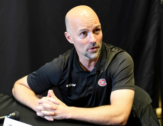 St. Cloud State head coach Brett Larson speaks with the media at NCHC Media Day Thursday, Sept. 19, 2019, at Xcel Energy Center.