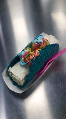 The Rainbow Road taco at Sweet Rolled Tacos in St. George.
